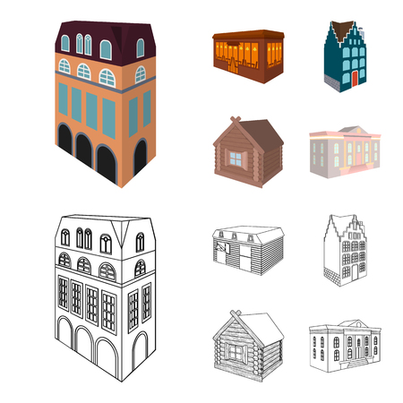 Residential house in English style, a cottage with stained-glass windows, a cafe building, a wooden hut. Architectura and building set collection icons in cartoon,outline style vector symbol stock illustration . Illustration