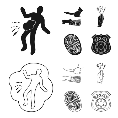 Robbery attack, fingerprint, police officer badge, pickpockets.Crime set collection icons in black,outline style vector symbol stock illustration . Stock Photo