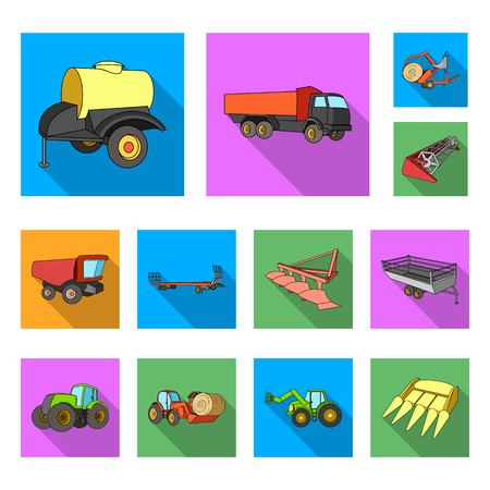 Agricultural machinery flat icons in set collection for design. Equipment and device vector symbol stock  illustration.