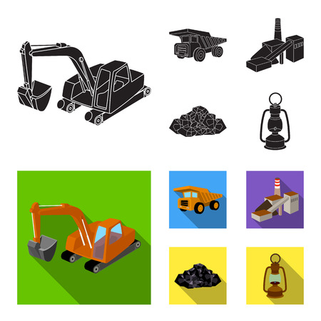 Excavator, dumper, processing plant, minerals and ore.Mining industry set collection icons in black, flat style vector symbol stock illustration .