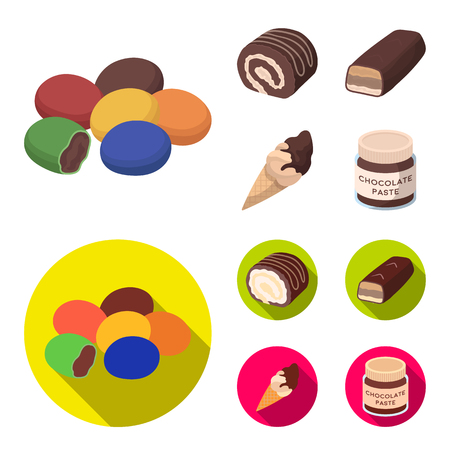 Dragee, roll, chocolate bar, ice cream. Chocolate desserts set collection icons in cartoon,flat style vector symbol stock illustration web.