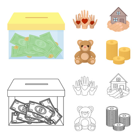 Boxing glass with donations, hands with hearts, house in hands, teddy bear for charity. Charity and donation set collection icons in cartoon,outline style vector symbol stock illustration web. Stock Photo