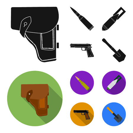 Holster, cartridge, air bomb, pistol. Military and army set collection icons in black, flat style vector symbol stock illustration web. Imagens