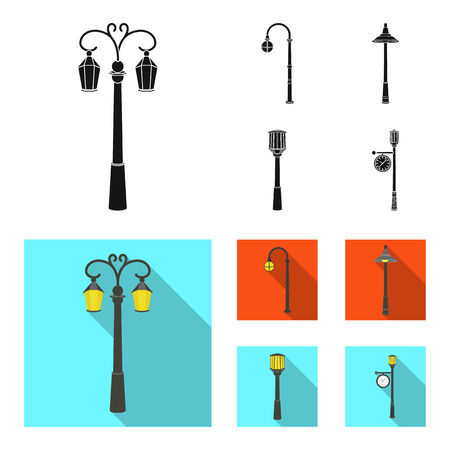 Lamppost in retro style ,modern lantern, torch and other types of streetlights. Lamppost set collection icons in black, flat style vector symbol stock illustration .