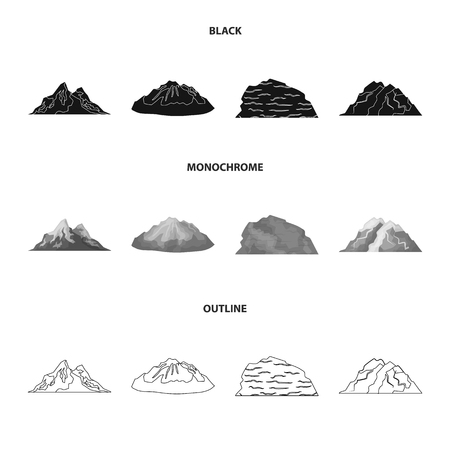 Mountains in the desert, a snowy peak, an island with a glacier, a snow-capped mountain. Different mountains set collection icons in black,monochrome,outline style symbol stock illustration web.