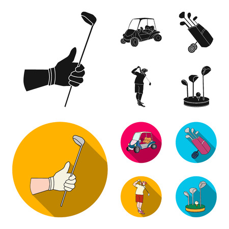 A gloved hand with a stick, a golf cart, a trolley bag with sticks in a bag, a man hammering with a stick.