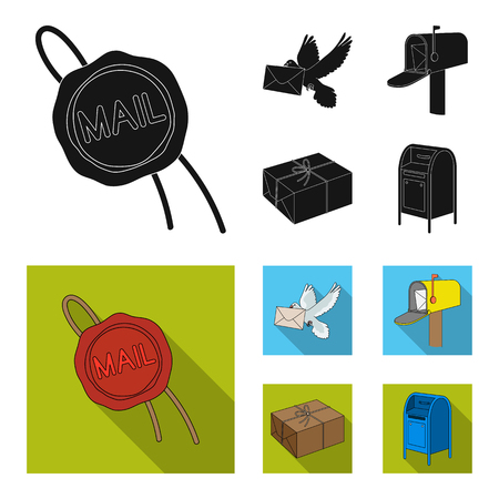 Wax seal, postal pigeon with envelope, mail box and parcel.Mail and postman set collection icons in black, flat style symbol stock illustration web.