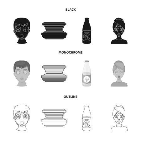 Face mask, solarium, bottle ts lasenom, pimples on face. Skin Care set collection icons in black,monochrome,outline style symbol stock illustration web. Illusztráció