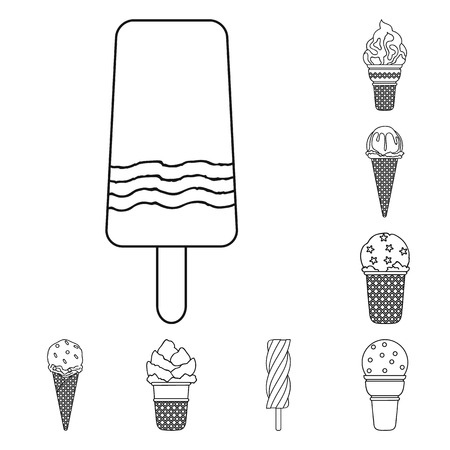 Different ice cream outline icons in set collection for design. Dessert and sweetness symbol stock web illustration.