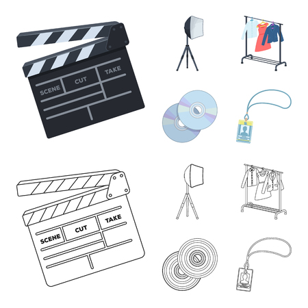 Movies, discs and other equipment for the cinema. Making movies set collection icons in cartoon,outline style vector symbol stock illustration web.