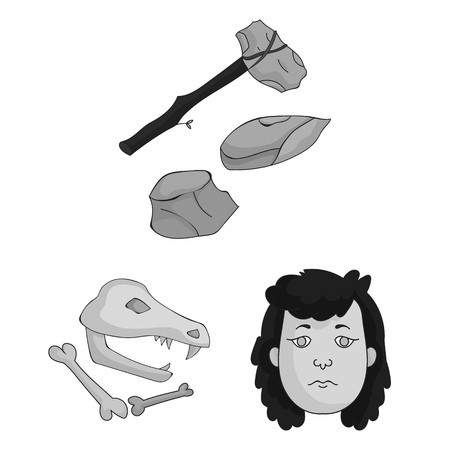 Life in the Stone Age monochrome icons in set collection for design. Ancient people vector symbol stock web illustration. 向量圖像