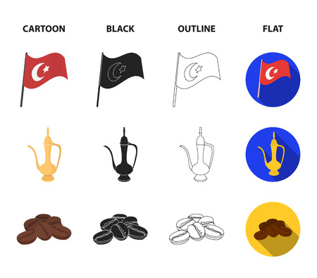 House hive, national flag, coffee pot copper, grains coffee.Turkey set collection icons in cartoon,black,outline,flat style vector symbol stock illustration .