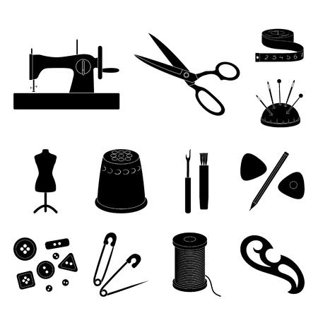 Cucito, atelier icone nere nella collezione set per il design. Illustrazione di Web di riserva di simbolo di vettore del kit di utensili.