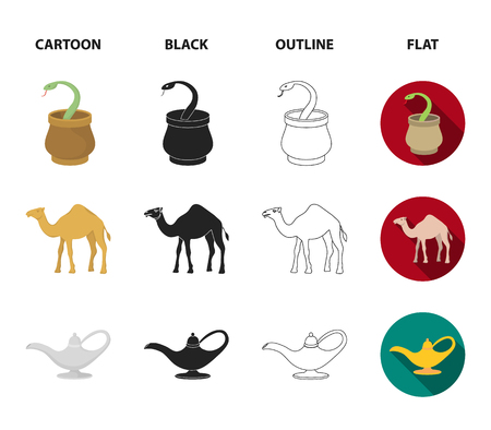 Cezve,Oil lamp, camel, snake in the basket.Arab emirates set collection icons in cartoon,black,outline,flat style symbol stock illustration web.