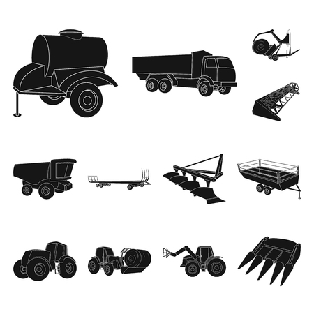Agricultural machinery black icons in set collection for design. Equipment and device symbol stock web illustration.