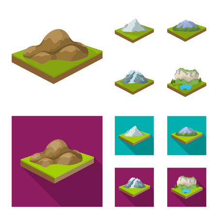Mountains, rocks and landscape. Relief and mountains set collection icons in cartoon,flat style isometric symbol stock illustration web.