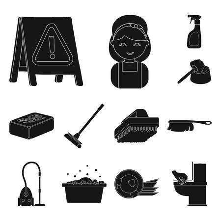 Schoonmaak en meid zwart-wit pictogrammen in set collectie voor design. Apparatuur voor het reinigen van symbool voorraad web illustratie.