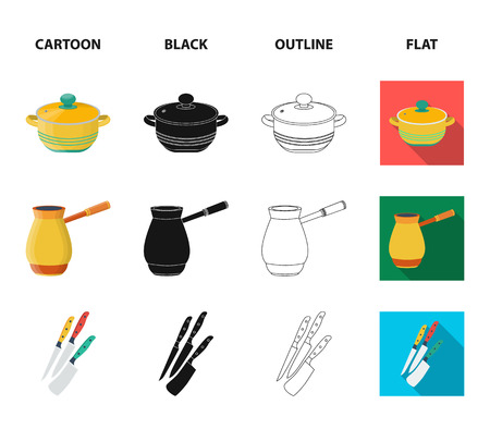 Kitchen equipment cartoon,black,outline,flat icons in set collection for design. Kitchen and accessories symbol stock web illustration. Illustration