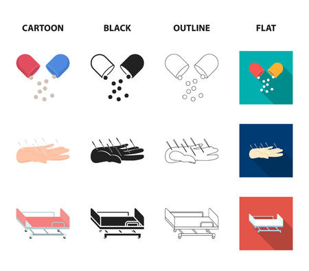 Solution, tablet, acupuncture, hospital gurney.Medicine set collection icons in cartoon,black,outline,flat style symbol stock illustration web.