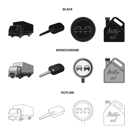 Truck with awning, ignition key, prohibitory sign, engine oil in canister, Vehicle set collection icons in black,monochrome,outline style symbol stock illustration web. Archivio Fotografico - 104948122