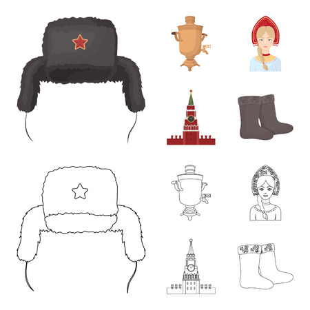 Clothes, woman, kremlin, building .Russia country set collection icons in cartoon,outline style symbol stock illustration web.
