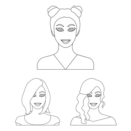 Avatar and face outline icons in set collection for design. A person appearance symbol stock web illustration.