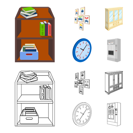 Cabinet, shelving with books and documents, frames on the wall, round clocks. Office interior set collection icons in cartoon,outline style isometric symbol stock illustration web. Illustration