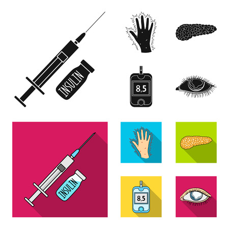 Syringe with insulin, pancreas, glucometer, hand diabetic. Diabetic set collection icons in black, flat style symbol stock illustration web.