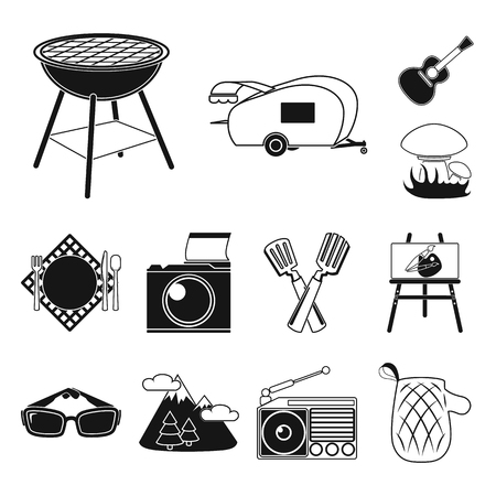 Picnic and equipment black icons in set collection for design. Picnic in the nature symbol stock web illustration.  イラスト・ベクター素材