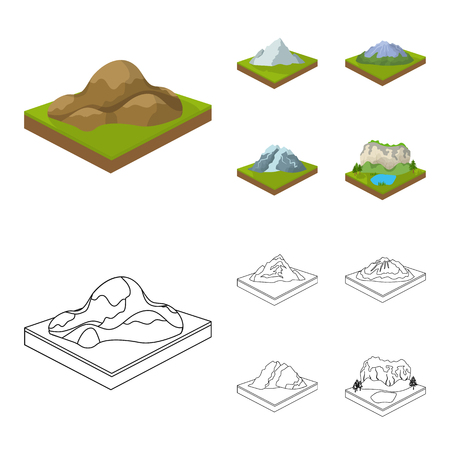 Mountains, rocks and landscape. Relief and mountains set collection icons in cartoon,outline style isometric symbol stock illustration web.