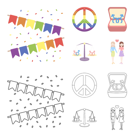 Flags, rainbow, emblem, rings. Gay set collection icons in cartoon,outline style vector symbol stock illustration . Stock fotó