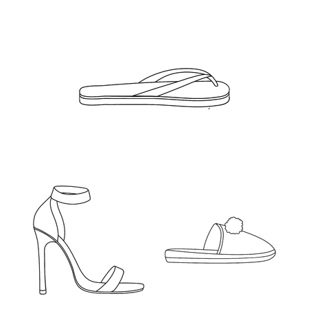 A variety of shoes outline icons in set collection for design. Boot, sneakers vector symbol stock  illustration. 版權商用圖片