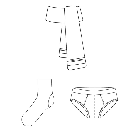 Clothes and accessories outline icons in set collection for design. Shoes and decoration vector symbol stock  illustration. Banque d'images - 104836964