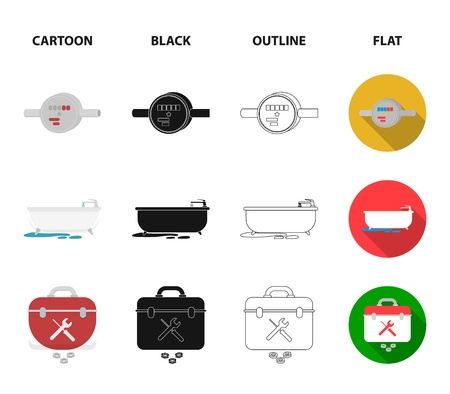 Water meter, bath and other equipment.Plumbing set collection icons in cartoon,black,outline,flat style vector symbol stock illustration .