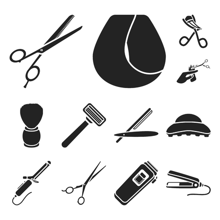 Hairdresser and tools black icons in set collection for design.Profession hairdresser vector symbol stock  illustration. Stock Illustration - 104836968