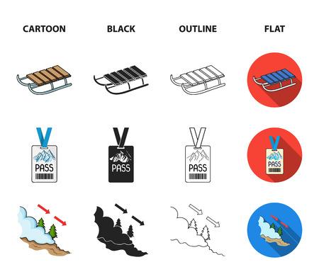 Ski, sled, lifeguard badge, badge avalanche. Ski resort set collection icons in cartoon,black,outline,flat style vector symbol stock illustration .