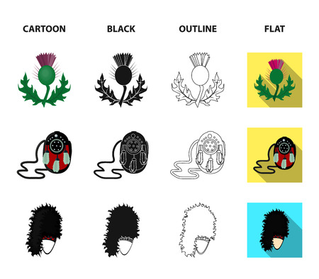 National Dirk Dagger, Thistle National Symbol, Sporran,glengarry.Scotland set collection icons in cartoon,black,outline,flat style vector symbol stock illustration .