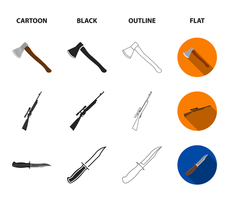 Ax, automatic, sniper rifle, combat knife. Weapons set collection icons in cartoon,black,outline,flat style vector symbol stock illustration . Stock Illustratie