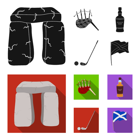 Stone monument, bagpipe, whiskey, golf. Scotland country set collection icons in black, flat style vector symbol stock illustration .