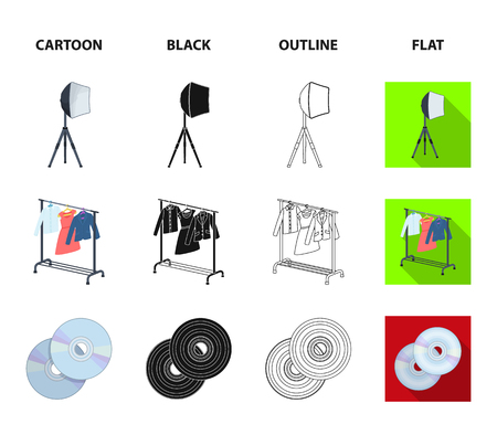 Movies, discs and other equipment for the cinema. Making movies set collection icons in cartoon,black,outline,flat style vector symbol stock illustration .