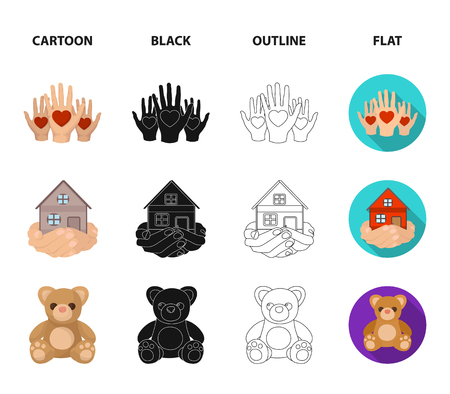 Boxing glass with donations, hands with hearts, house in hands, teddy bear for charity. Charity and donation set collection icons in cartoon,black,outline,flat style vector symbol stock illustration . 矢量图像