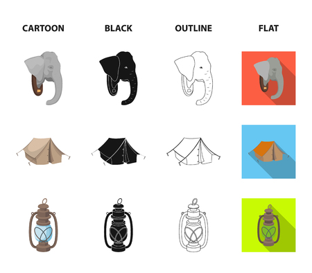 A bag of diamonds, an elephant head, a kerosene lamp, a tent. African safari set collection icons in cartoon,black,outline,flat style vector symbol stock illustration web.