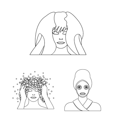 Care of hair and face outline icons in set collection for design. Perfumes and makeup vector symbol stock web illustration.