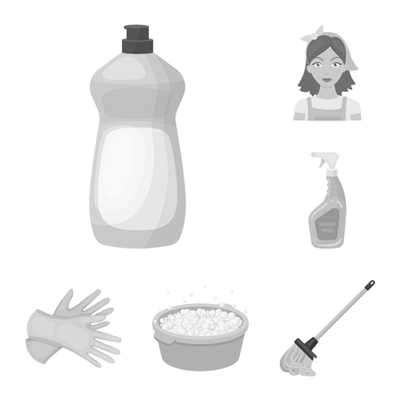 Cleaning and maid monochrome icons in set collection for design. Equipment for cleaning vector symbol stock web illustration. Stock Photo