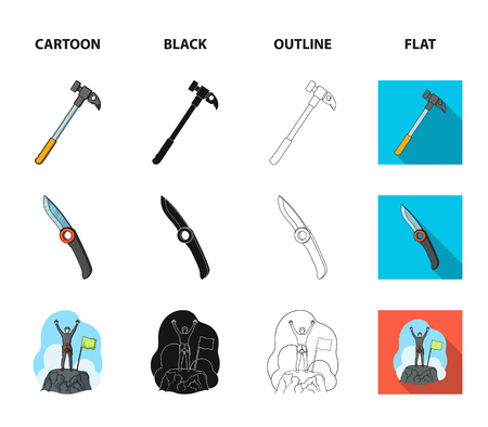 Climber on conquered top, coil of rope, knife, hammer.Mountaineering set collection icons in cartoon,black,outline,flat style vector symbol stock illustration .