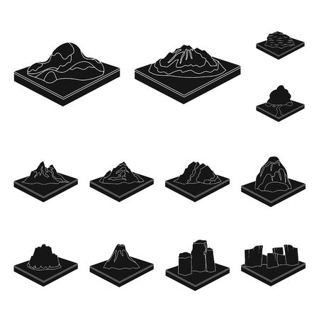 Montañas, iconos negros masivos de colección set de diseño. La superficie de la ilustración de stock de símbolo isométrico de vector de tierra.
