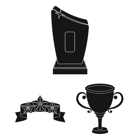 Awards and trophies black icons in set collection for design.Reward and achievement vector symbol stock web illustration.  イラスト・ベクター素材