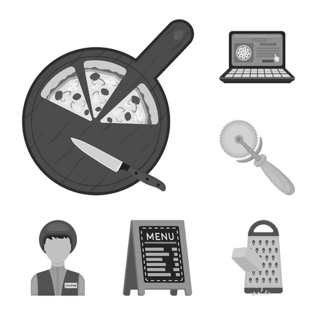 Pizza and pizzeria monochrome icons in set collection for design. Staff and equipment vector symbol stock  illustration. Vettoriali