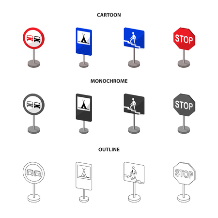 Different types of road signs cartoon,outline,monochrome icons in set collection for design. Warning and prohibition signs vector symbol stock web illustration. Archivio Fotografico - 104970459