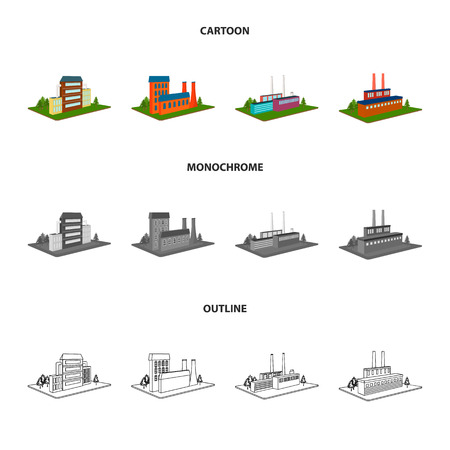 Processing factory,metallurgical plant. Factory and industry set collection icons in cartoon,outline,monochrome style isometric vector symbol stock illustration web.